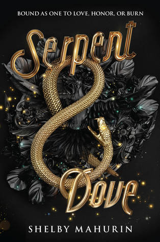 This is the book cover of Serpent and Book. The book is black with black feathers, a gold snake and the book title is in gold.