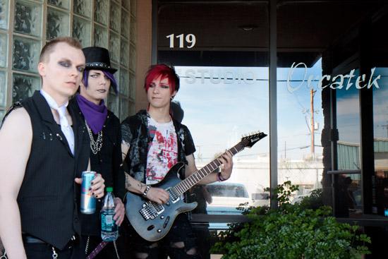 Band at the door to the studio in Phoenix