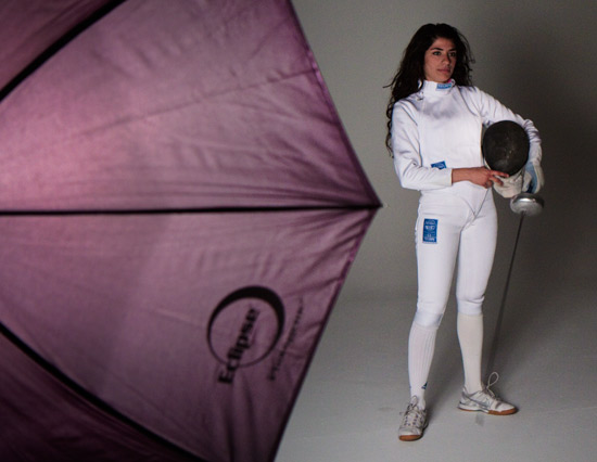 2012 Olympic fencing hopeful Natalie Vie poses at photography rental studio in Phoenix.