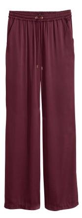 Wide-Leg Pants: Wide-Leg Satin Pants in Burgundy, $19.95, hm.com: