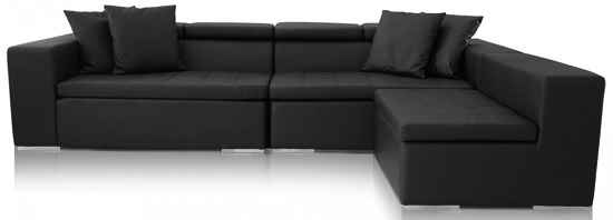 Monaco Black Leather Sofa, $1,590, modani.com
