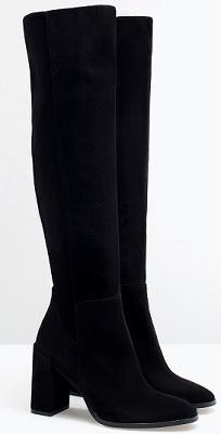 High-Heeled Leather Boot, $59.99, zara.com