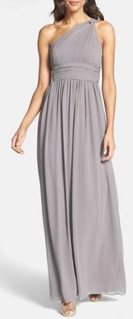 Donna Morgan 'Rachel' Ruched One-Shoulder Chiffon Gown, $270, nordstrom.com
