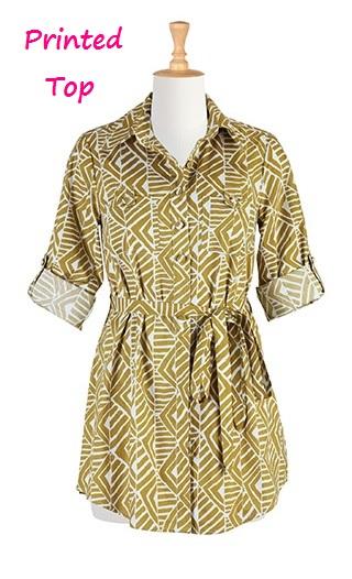 Sash Tie Cotton Print Shirt, eShakti.com