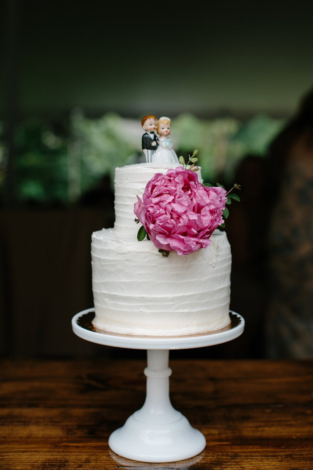 Small Wedding Cake with Pink Peony | www.thestyledbride.com