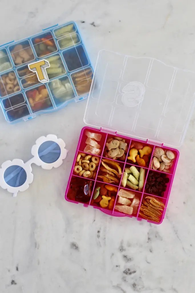 Healthy snack trays for travel days with kids.