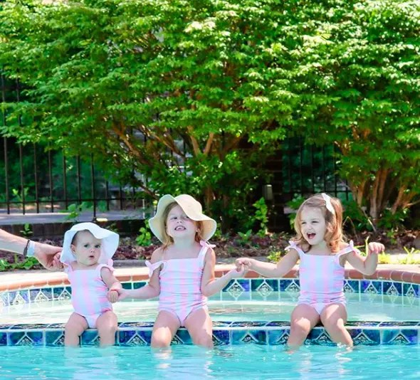 Girls in matching swimsuits at the pool in summer.