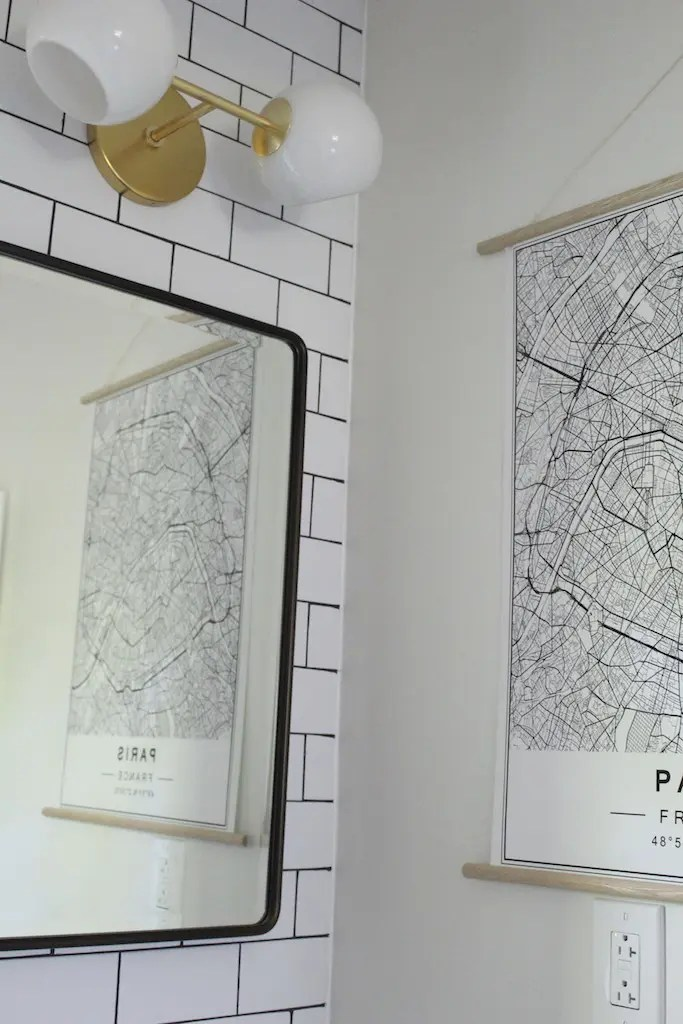 paris map artwork bathroom subway tile