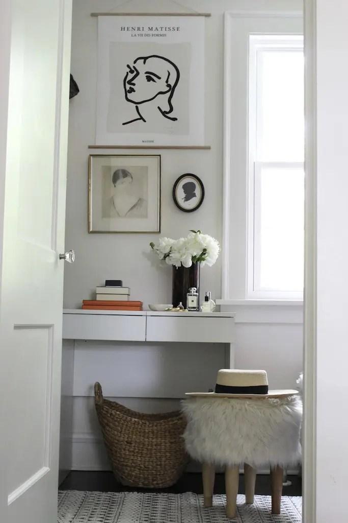 women's vanity in small closet