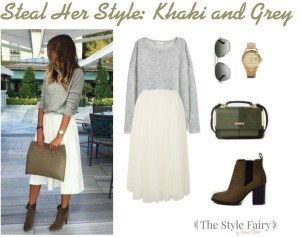 Steal Her Style: Khaki and Grey