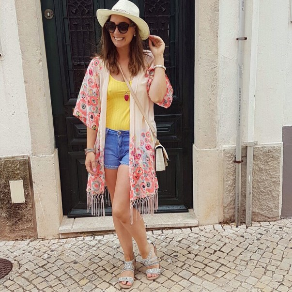 Hat: Bought in Portugal. Kaftan & top: Penneys Shorts: Littlewoods Ireland Sandals: River Island