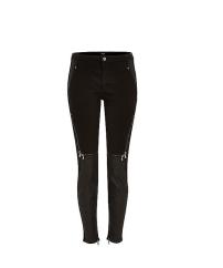 Black Leather Panel Jeans