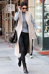 Kendal Jenner in Stone Sleeveless Coat