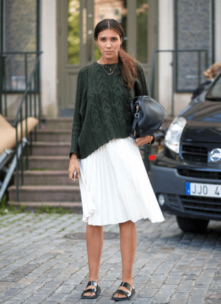 Oversized Sweater with Midi Skirt | Source:LeFashion