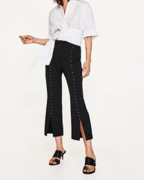 Zara Pearl Studded Trousers with Slits
