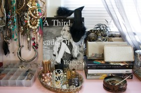 My room is my studio. I have a collection of fashion coffee table books full of inspiration and an insane amount of jewelry to fulfill it.