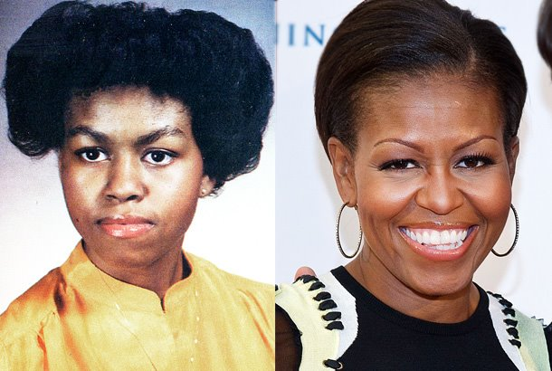 first lady michelle obama with natural hair old skool pic
