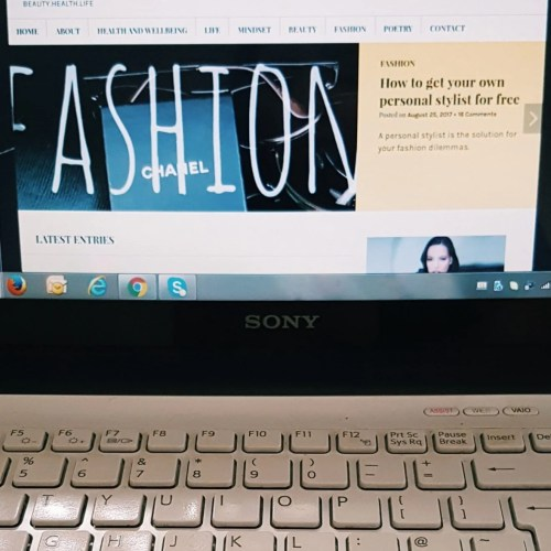 blog page on laptop