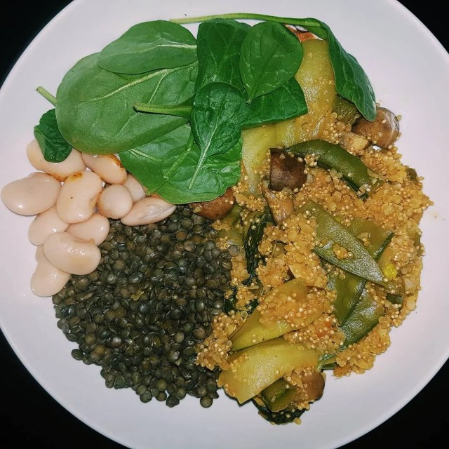 Lentils butter beans quinoa and spinach put together with stirfryhellip