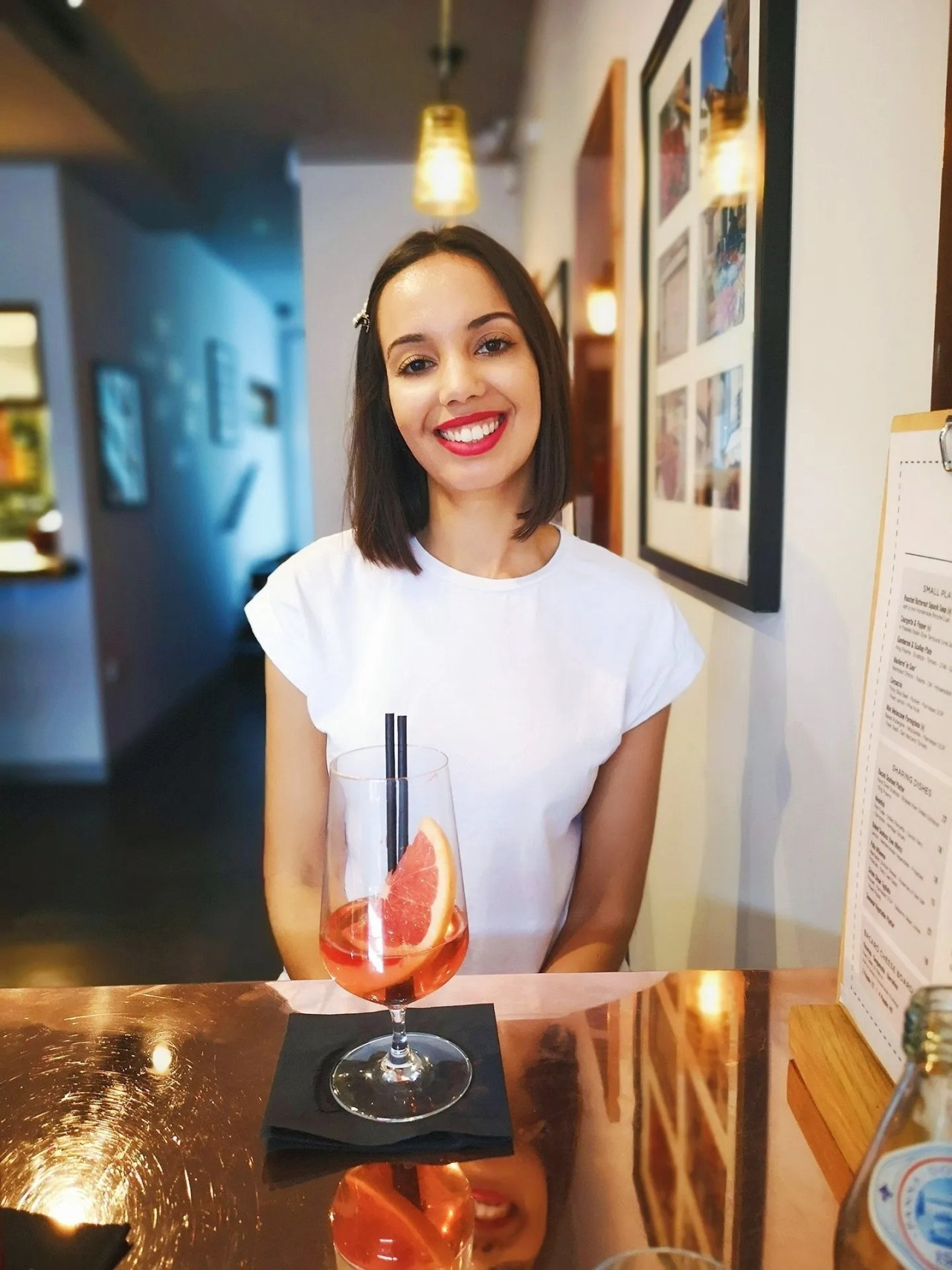 girl mocktail in bar - The Style of Laura Jane
