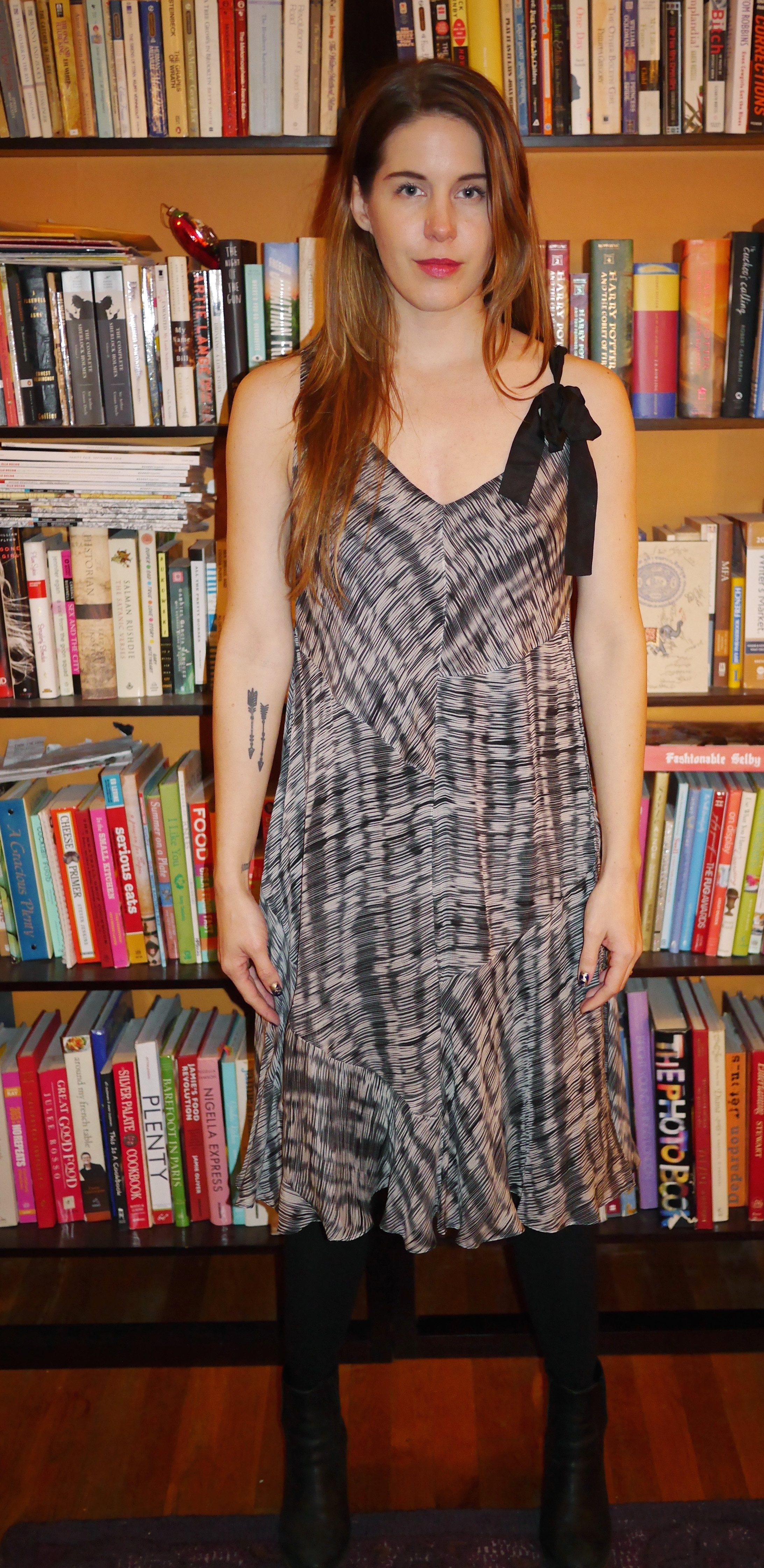 """6e94cef6 Black and White """"Sack Dress:"""" Pure DKNY (Lord & Taylor) 