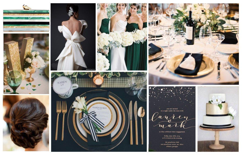Emerald Green, Gold, Black Wedding Mood Board