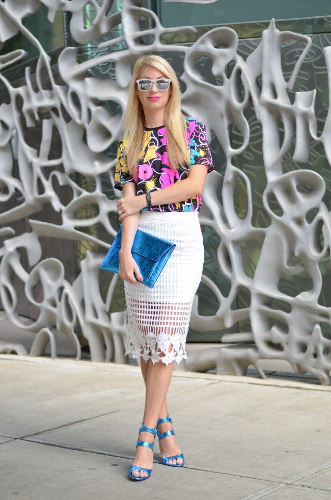 Gap REMIX tee, white lace skirt, blue metallic heels // thestylesafari.com