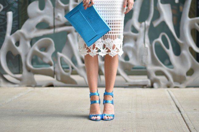 Gap REMIX tee, white lace skirt, blue metallic heels and clutch // thestylesafari.com