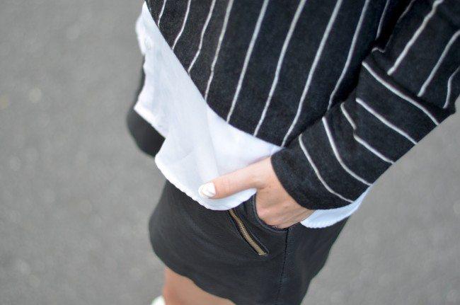 pinstripe sweater, leather shorts // thestylesafari.com