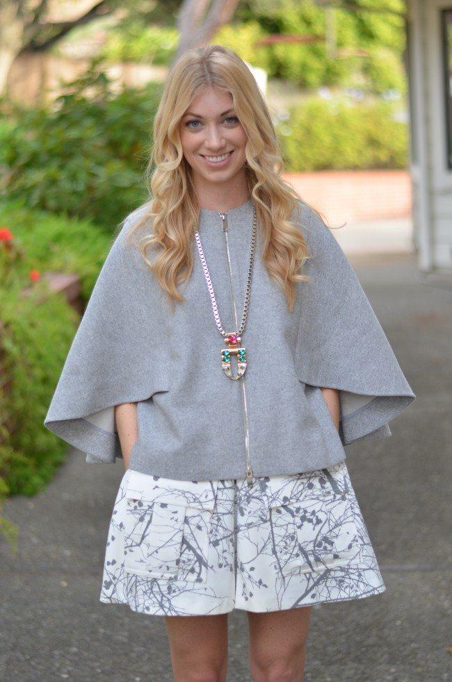 grey cape, white marble skirt shorts // thestylesafari.com