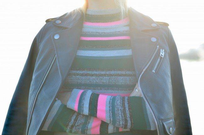 metallic stripe turtleneck, black leather jacket, grey metallic pants // thestylesafari.com