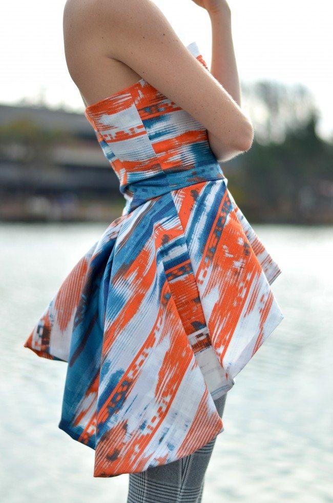orange and blue peplum top, handmade // thestylesafari.com