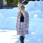 asos boucle stripe jacket and skirt, black over the knee boots // thestylesafari.com