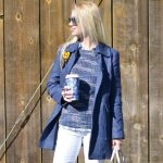 denim coat, white jeans, grey suede over the knee boots, blue outfit // thestylesafari.com