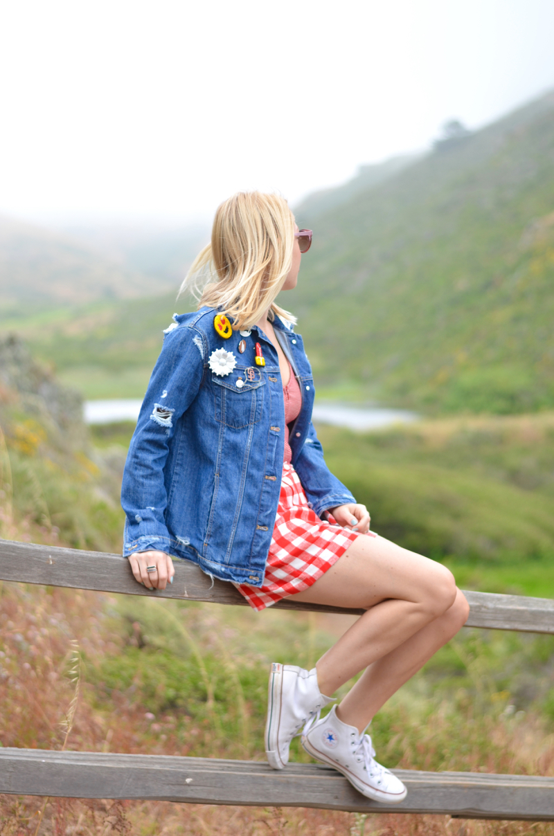 Urban Outfitters red bodysuit, red gingham shorts, oversize jean jacket // thestylesafari.com