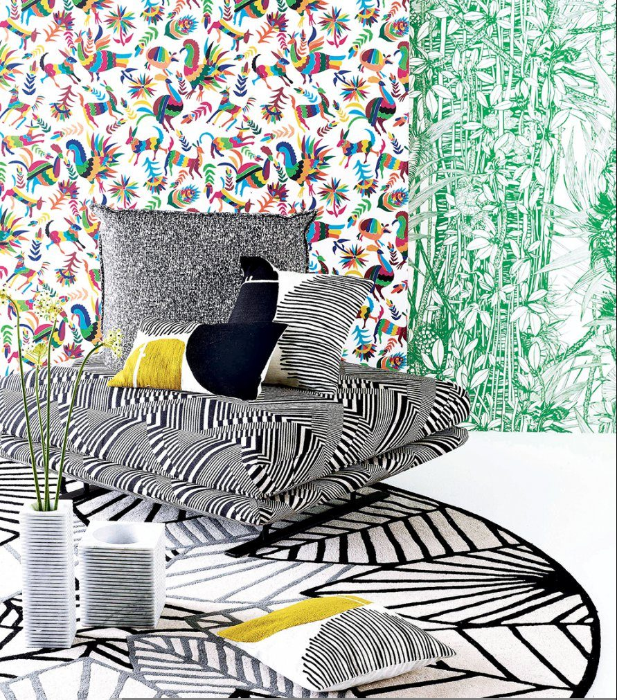 stripes, green palm wallpaper, otomi print // thestylesafari.com