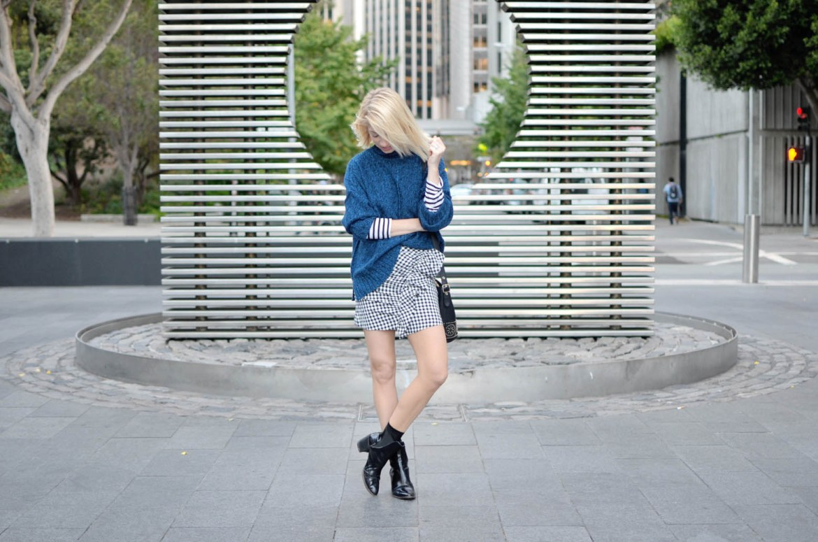 what to wear for the best pasta in san francisco, gingham ruffle mini skirt, blue oversize sweater, striped long sleeve tee, casual city street style // thestylesafari.com