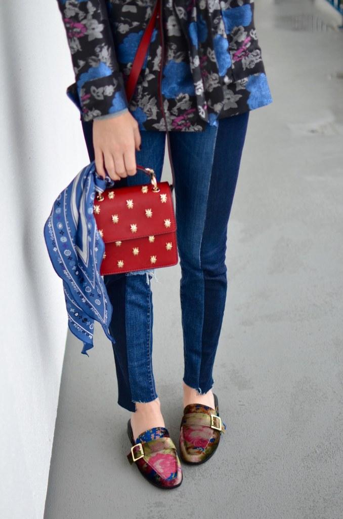 jacquard robe blazer, two tone skinny jeans, velvet slippers, velvet slide loafers red box bag // thestylesafari.com