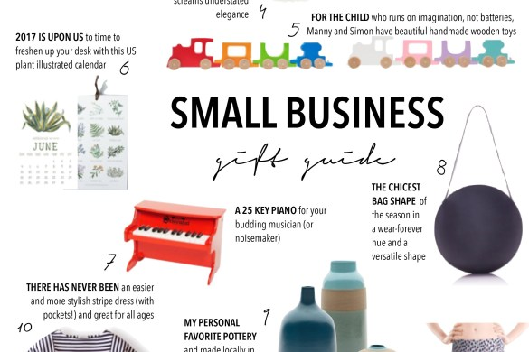 small business saturday gift guide, custom baby blanket, modern jewelry, lacson ravello stripe dress, manny and simon handmade wood toys, heath ceramics, flavored sea salts, artisan crafts, unique gifts, gift guide