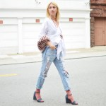 summer pieces remixed, off the shoulder white top, ripped jeans, open toe sandals, pink socks, pink faux fur scarf // thestylesafari.com