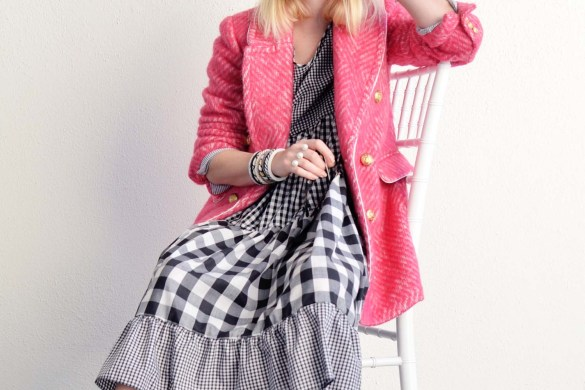 pink tweed blazer coat and mix gingham dress outfit, blogger style, spring outfit