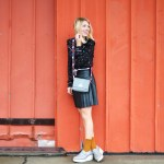 how to style a pleated leather skirt