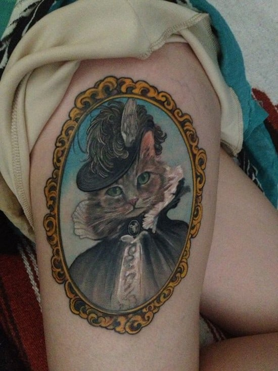 48-Cat-Tattoo-on-Thigh
