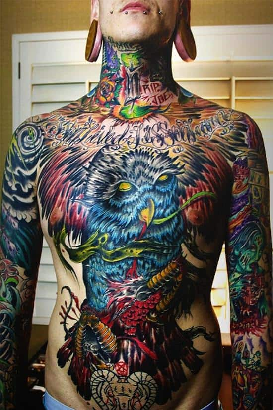 stomach-tattoo-colorful-owl