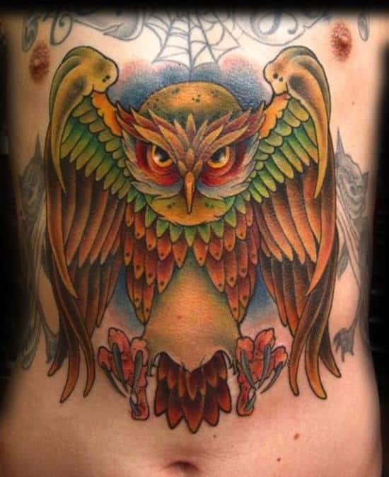 stomach-tattoo-owl