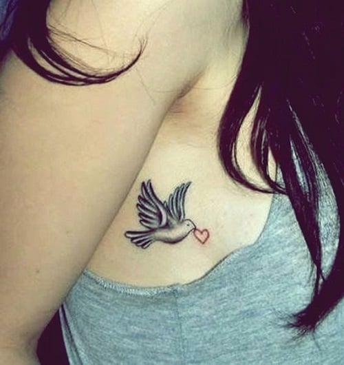 Cute Bird Tattoo Carrying a Heart