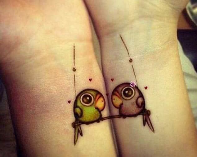 Love Birds Couple Tattoo Design by Dovme Sayfasi