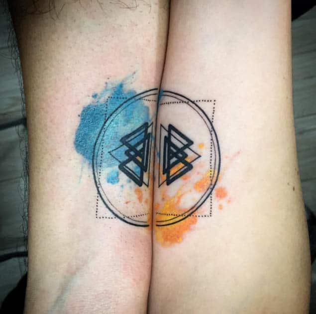 Watercolor Couple Tattoos by Skull N Bones