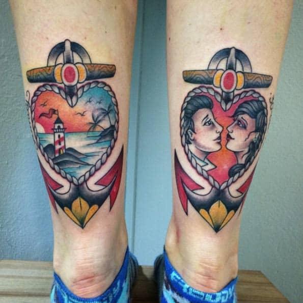 matching anchor tattoo