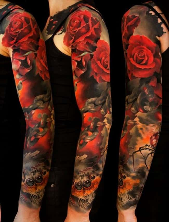 Roses Tattoos Arm : roses, tattoos, Beautiful, Tattoos, Meanings, (Ultimate, Guide,, March, 2021)